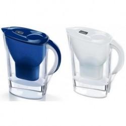 קנקן מטהר מים בריטה מרלה כולל 3 פילטרים מקסטרה פלוס (משופר) צבע כחול/לבן שקוף משלוח למרכז שרות