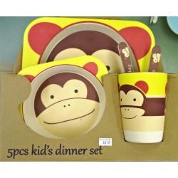 סט 5 כלי אוכל לילד קישוט סמיילי