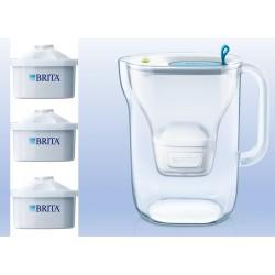 בריטה, קנקן מטהר מים בריטה סטייל לבן שקוף כולל 3 פילטרים מקסטרה פלוס