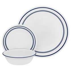סט צלחות ל 6 סועדים דגם לבן חלק 001 קורנינג (עיקרית, עוגה. מרק)