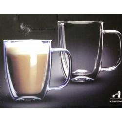 """זוג ספלים דופן כפולה לקפה/תה480 מ""""ל דגם אתיופיה"""