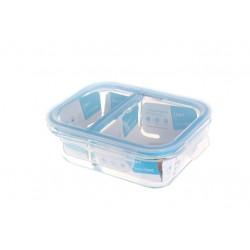 """מיכל אחסון זכוכית מלבן מחולק 640 מ""""ל מכסה כחול"""