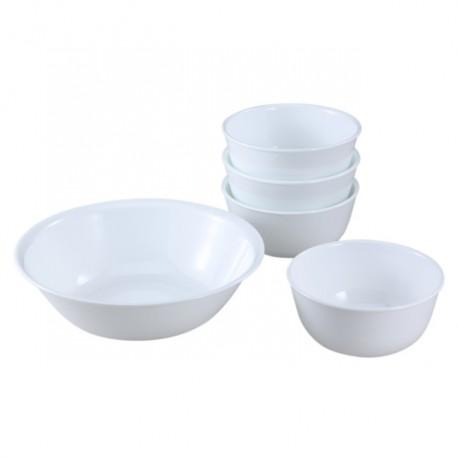 סט צלחות חטיפים 5 חלקים לבן חלק Winter Frost White קורל קורנינג